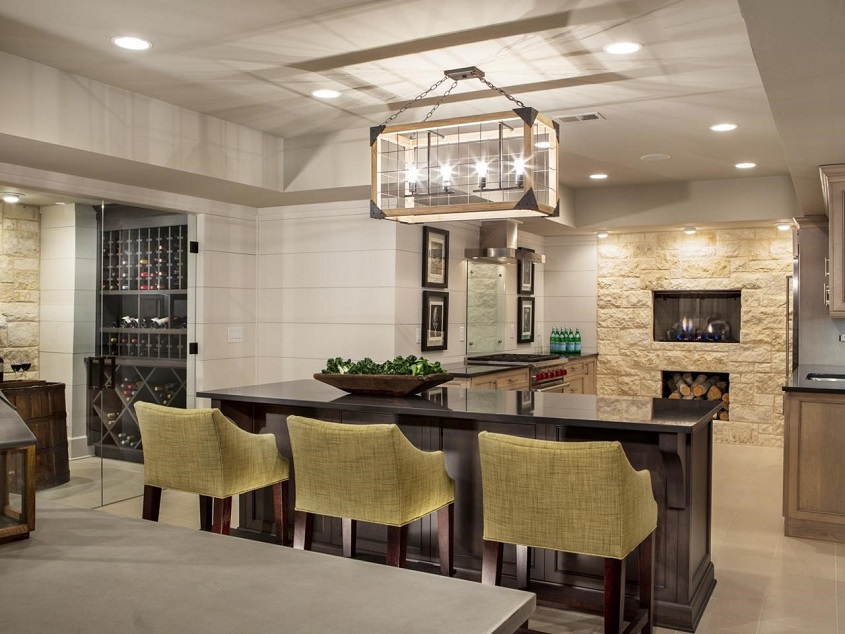 Open plan basement kitchen