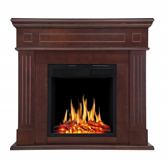 SEI Furniture Calvert Carved Electric Fireplace